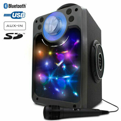 Cassa Altoparlante Speaker Bluetooth con Microfono Giochi Luce LED USB Aux SD
