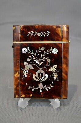 Antique Victorian Tortoiseshell & Mother-Of-Pearl Card Case 19th Century