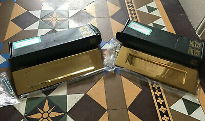Carlisle Brass Victorian Letter Plate Polished Brass Letterbox Set With Fittings