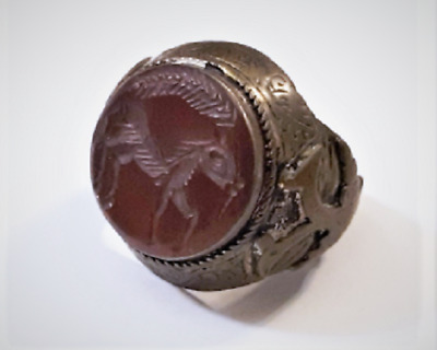 Antiq Sassanian Persian Carnelian Horse Intaglio Double Head Eagle Bronze Ring