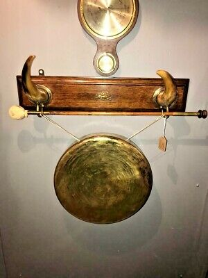 Antique Victorian Brass Dinner Gong with Wooden Plaque and Horn & Striker