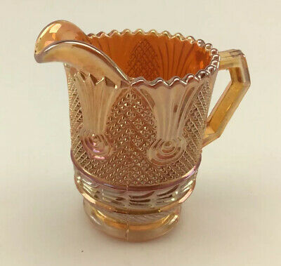 Vintage Sowerby Carnival Glass Creamer,Sea Thistle (scroll) Pattern 1920s