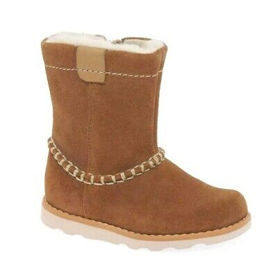 Clarks Girls Infant First Faux Fur Lined Tan&Burgundy Suede Ankle boots NEW