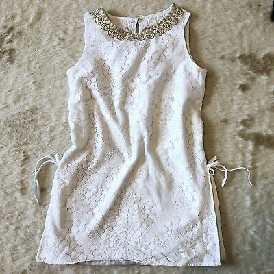Lilly Pulitzer Top 12 Girls Mini Donna White Lace Gold Trim Side Tie Kids Child