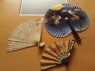 Vintage Collection X3 Filigree Celluloid Paper Hand Painted Hand Fans.