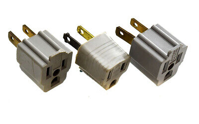 Leviton 501376 Convert 3 Prong to 2 Prong AC Wall Outlet Cord End Adapter 3/pkg