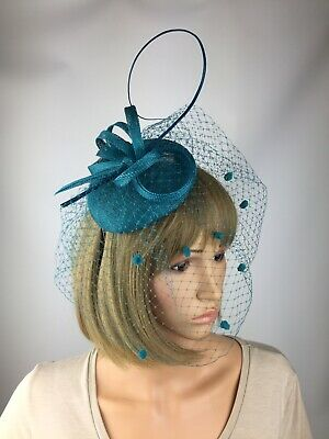 Pillbox Teal Blue Green Fascinator Wedding Hatinator Mother Bride Ascot Races