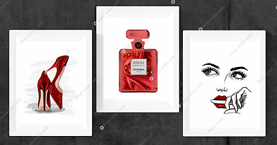 Set of 3 Coco Chanel Red Wall Art Print Room Bedroom Poster Gift