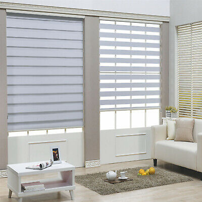 White Motorized Zebra Roller Blind Electric Day and Night Window Blind Shade