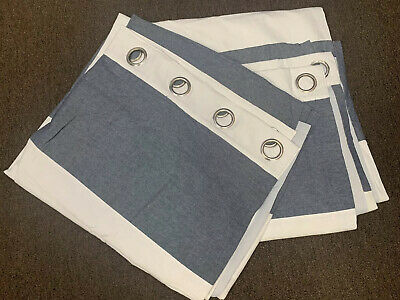 """2 Pottery Barn kids Hayden Rugby Blackout curtains  - NAVY BLUE 84 X 44"""""""