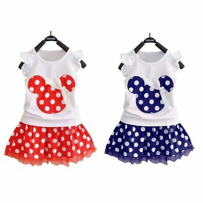 Girls Toddler Kids Baby Minnie Mouse Polka Dot Bowknot Tulle Mini Dresses S-XL