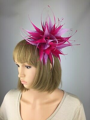 Pink and Lilac Feather Statement Fascinator Hat Occasion Wedding Ascot Race