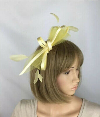 Pale Lemon Yellow Fascinator Wedding Hatinator Mother Of The Bride Ascot Hat