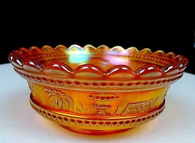 """Northwood Carnival Glass Marigold Peacock At The Fountain 5"""" Berry Bowl 1908-20"""