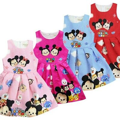 Girls Kids Baby Toddler Cartoon Cotton Minnie Mouse Skirts Party Tutu Dresses