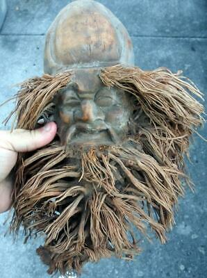 Hand Carved Asian Chinese Face Wood Wooden Seed Pod Bamboo Vintage Root Man A
