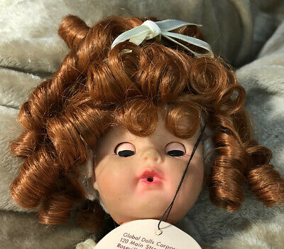"""11-12"""" Long Ponytails Bangs Carrot Red JANEY Wig  Modacrylic By Global Dolls NOS"""