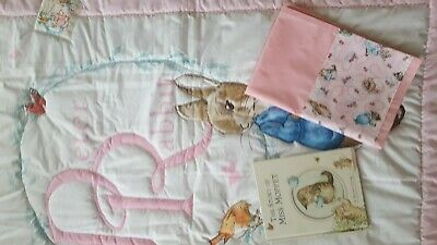 Peter Rabbit Cot Quilt ~~~~ Hand Made Australia ~~~ Cotton Beautifully Quilted