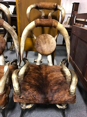 Antique 19th Century Steer Horn Chair with Cowhide: By Friedrich or Puppe?