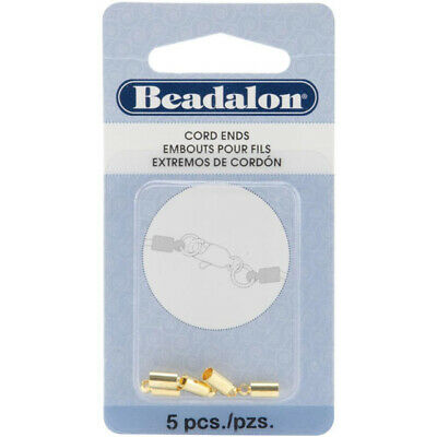 Beadalon Cord Ends – Gold Plate 5/Pkg - 2wards Polymer Clay & Crafts