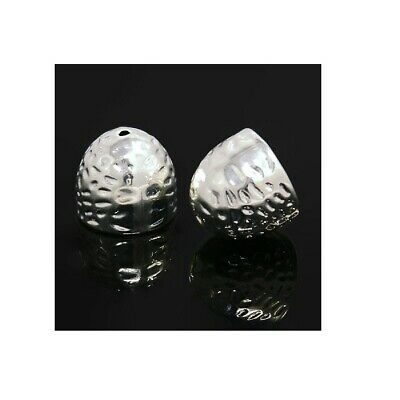 Large Bead Caps, Hammered Metal - Silver - 2wards Polymer Clay & Crafts