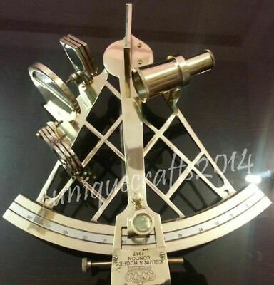 Antique Heavy Brass Nautical Sextant Vintage Astrolabe Working Instrument 10""