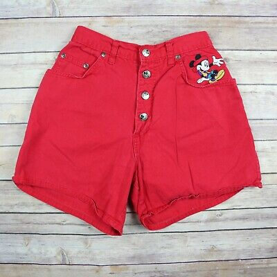 VTG 90s MICKEY MOUSE Disney Women's Button Fly High Waisted Shorts SIZE 7 Red