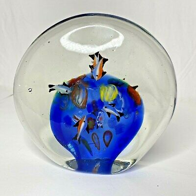 Art Glass Paperweight Fish Orange Blue Yellow Green Bubbles Heavy Large Ocean