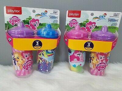 NEW 4 pieces Playtex Sipsters Stage 3 My Little Pony Spill-Proof Sippy Cups 9 oz
