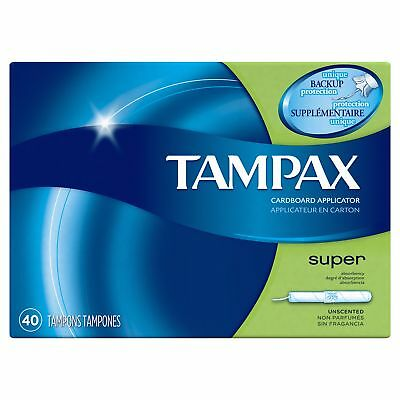 Tampax Cardboard Super Tampons, Unscented with LeakGuard Skirt 40 count, 2 Pack