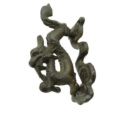 Rustic Brown Cast Iron Japanese Dragon Front Door Knocker Chinese Entryway Decor