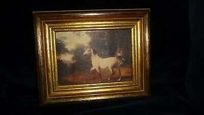#12/5 vtg Picture Frame Goldish WOOD  6 3/4 x 4 3/4 Outer 11 x 8 1/2 w HORSE Pic