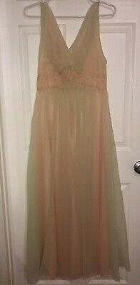 VINTAGE Nightgown Nylon Chiffon Long Full Vanity Fair Night Gown Peach & Lime