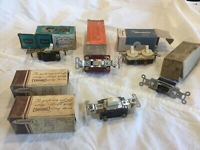 Lot - Vintage Leviton Push Button Ivory Light  Switch Sierra 3-Way Rodale Double