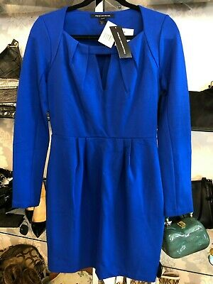 FRENCH CONNECTION Electric Blue Long Sleeve Sheath Dress Sz 8 $148 NWT