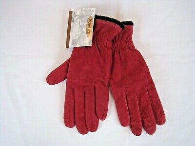 FOWNES Womens RED Suede Leather DRIVING GLOVES Polyester Lined Sz XL NEW w/Tags