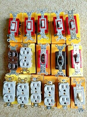 Lot of 16 Hubbell Switches and Receptacle *NEW*