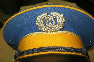 Vintage School Marching Band Hat Cap~Blue Yellow Black~Instrument Badge~Stock 21