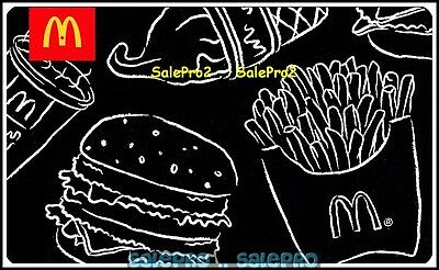McDONALD 2011 FRENCH FRIES BURGER COFFEE CONTOUR DRAWING COLLECTIBLE GIFT CARD