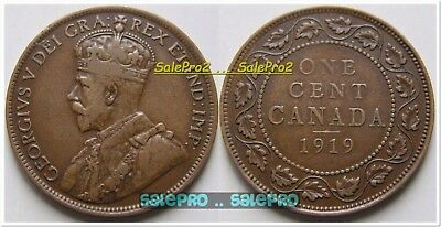 Canada 1919 Canadian Copper Penny Vintage King George V Large Cent Coin