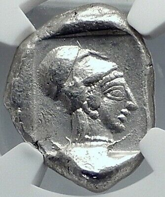 SIDE in PAMPHYLIA Authentic Ancient 430BC Silver Greek Coin ATHENA NGC i82323