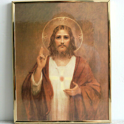 Sacred Heart of Jesus Plaque Catholic Church Art Wall