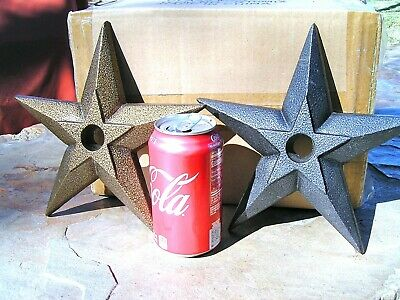 "TWO LARGE Powdercoated Cast Iron Stars 8 5/8"" for craft, accents, Gold, Silver"