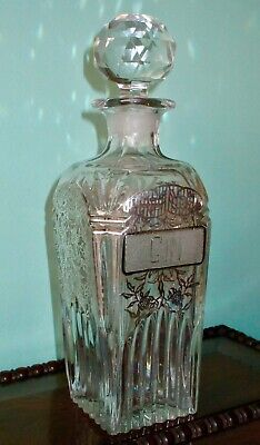"""Antique Art Nouveau Gin Decanter Floral Sterling Silver Overlay Large 10.5"""""""