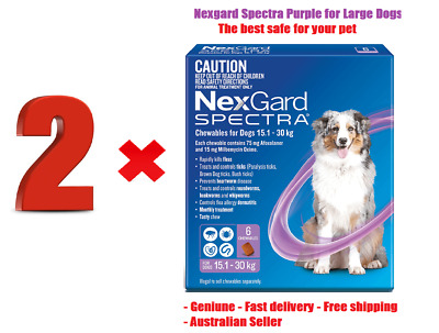 HOT SALE! 2 x Nexgard Spectra Purple Chewables for Large Dogs 15.1-30kg - 6 Pack