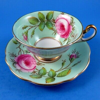 Painted Pink Rose on Light Green Foley Signed A. Taylor Tea Cup and Saucer Set