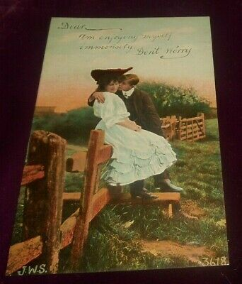 Antique German Colorful Romance Couple Loving Saying Post Card- Unposted- c1912