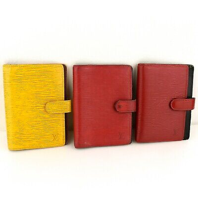 Auth LOUIS VUITTON AGENDA PM Notebook Cover Epi Leather Yellow Red 3 Pieces Set