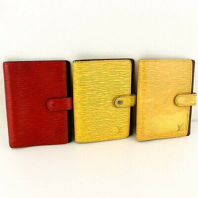 Auth LOUIS VUITTON AGENDA PM Notebook Cover Epi Leather Red Yellow 3 Pieces Set