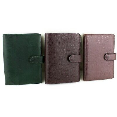 Auth LOUIS VUITTON AGENDA PM Notebook Cover Taiga Leather 3 Pieces Set